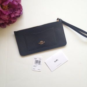Coach Bags - New Coach Navy & Gold Top Zip Wristlet Wallet